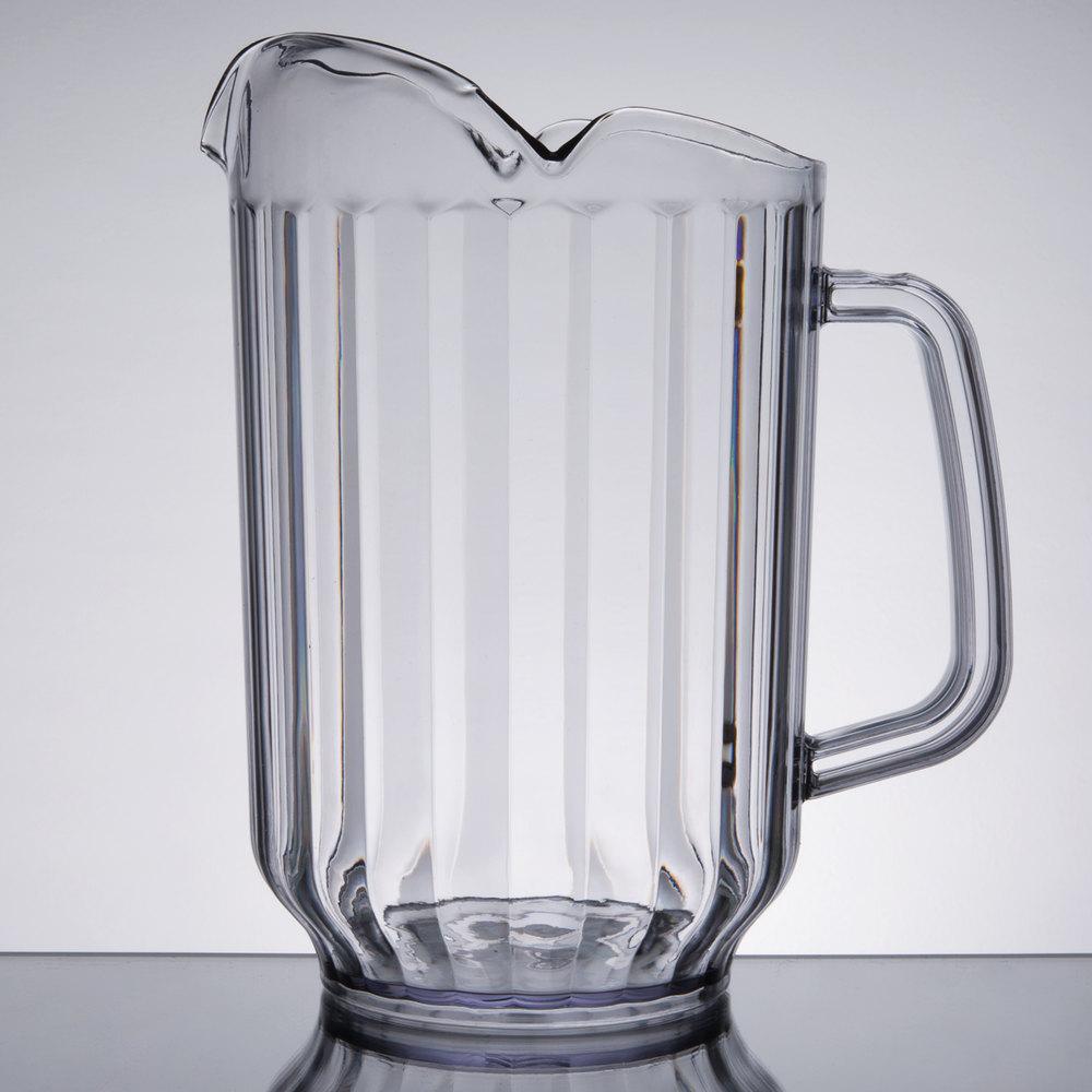 choice 60 oz clear san plastic beverage pitcher with 3 spouts. Black Bedroom Furniture Sets. Home Design Ideas