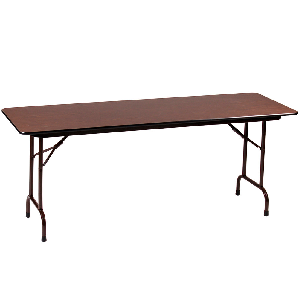 "Correll CFA3072M 30"" x 72"" Walnut Melamine Top Adjustable Height Folding Table"