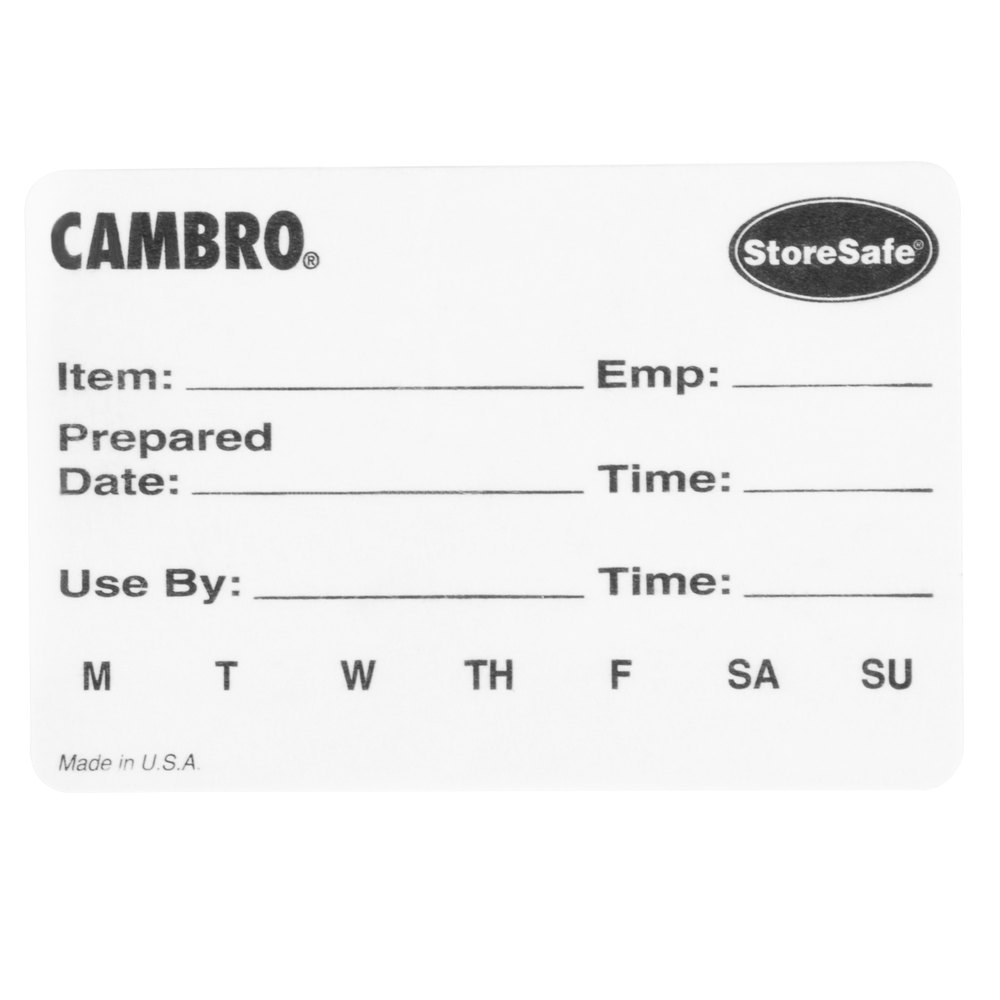 "Cambro 23SLB6250 3"" x 2"" StoreSafe Dissolvable Product Label 250 / Roll - Printed - 6/Case"