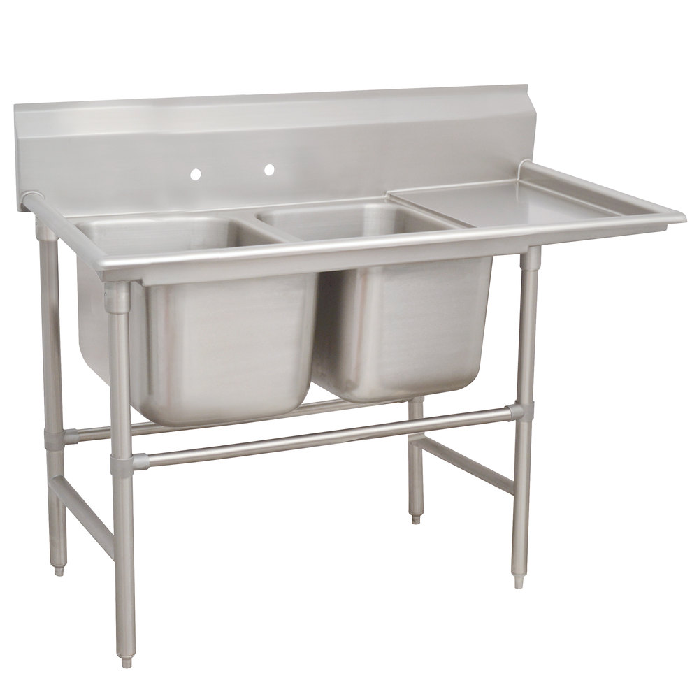 Right Drainboard Advance Tabco 94-62-36-24 Spec Line Two Compartment Pot Sink with One Drainboard - 68""