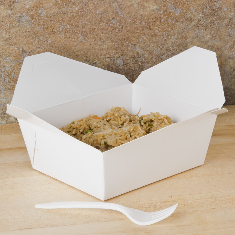 "Southern Champion 778 6"" x 5"" x 3"" ChampPak Retro White Microwavable Paper #8 Take-Out Container - 50/Pack"