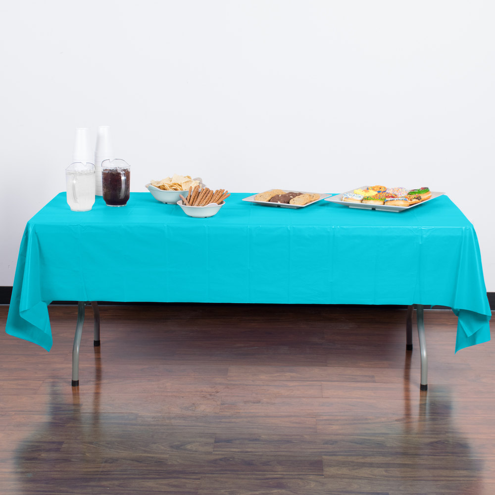 "Creative Converting 11390 108"" x 54"" Bermuda Blue Disposable Plastic Table Cover - 12/Case"