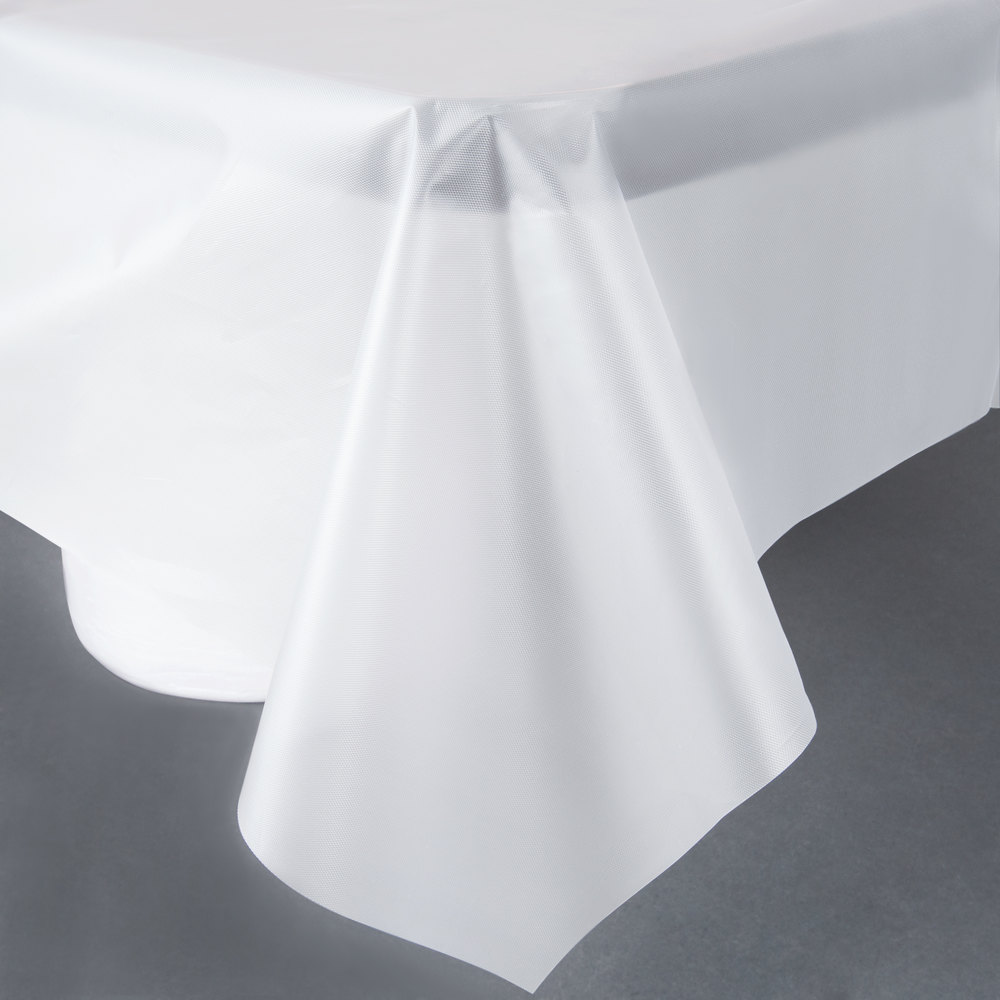 "Creative Converting 01320B 54"" x 108"" Clear Disposable Plastic Table Cover - 24/Case"