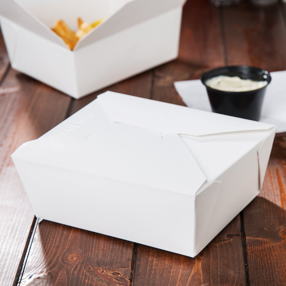 "8"" x 6"" x 3"" ChampPak Retro White Paper #3 Take-Out Container - 50 / Pack"