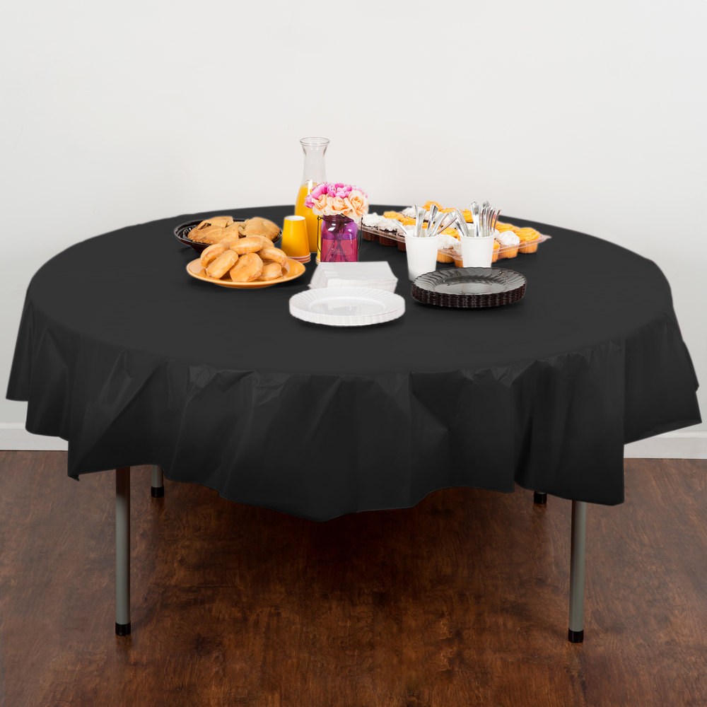 "Creative Converting 703260 82"" Black Velvet OctyRound Disposable Plastic Table Cover - 12/Case"