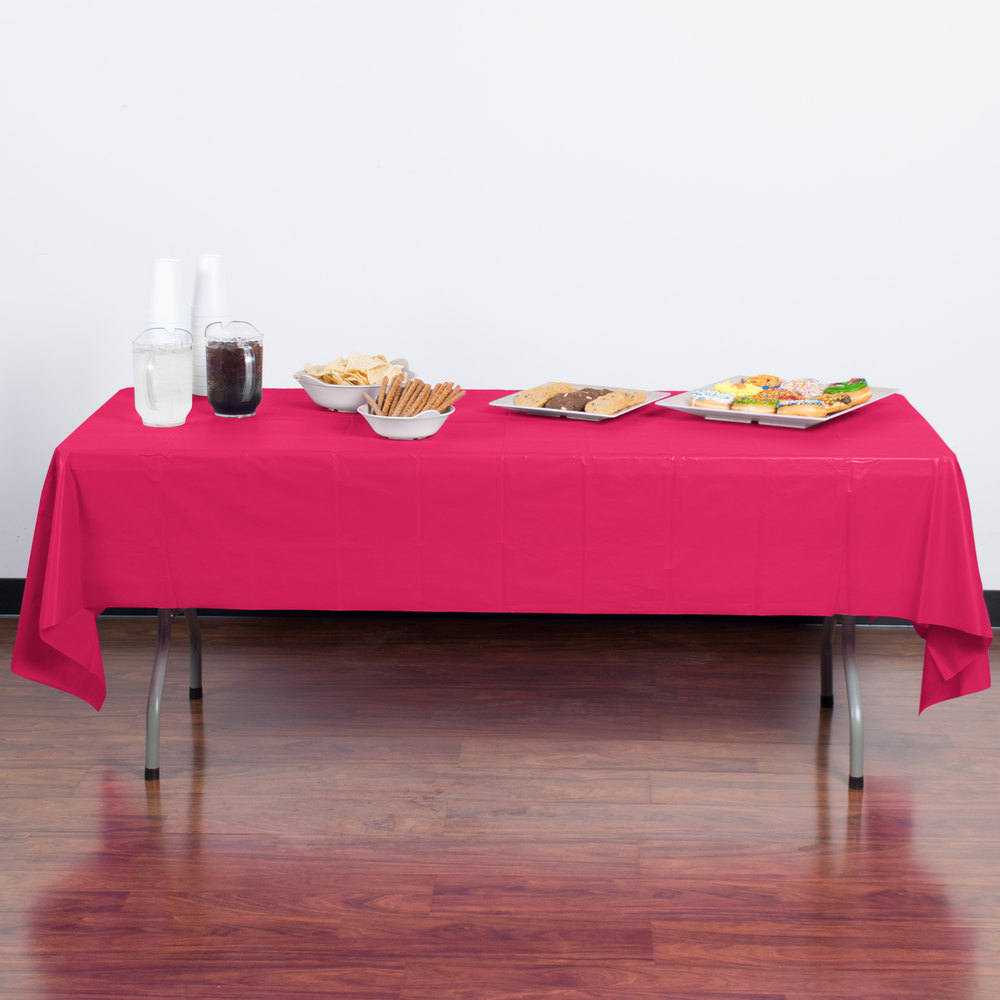 "Creative Converting 01413B 54"" x 108"" Hot Magenta Pink Disposable Plastic Table Cover - 24/Case"