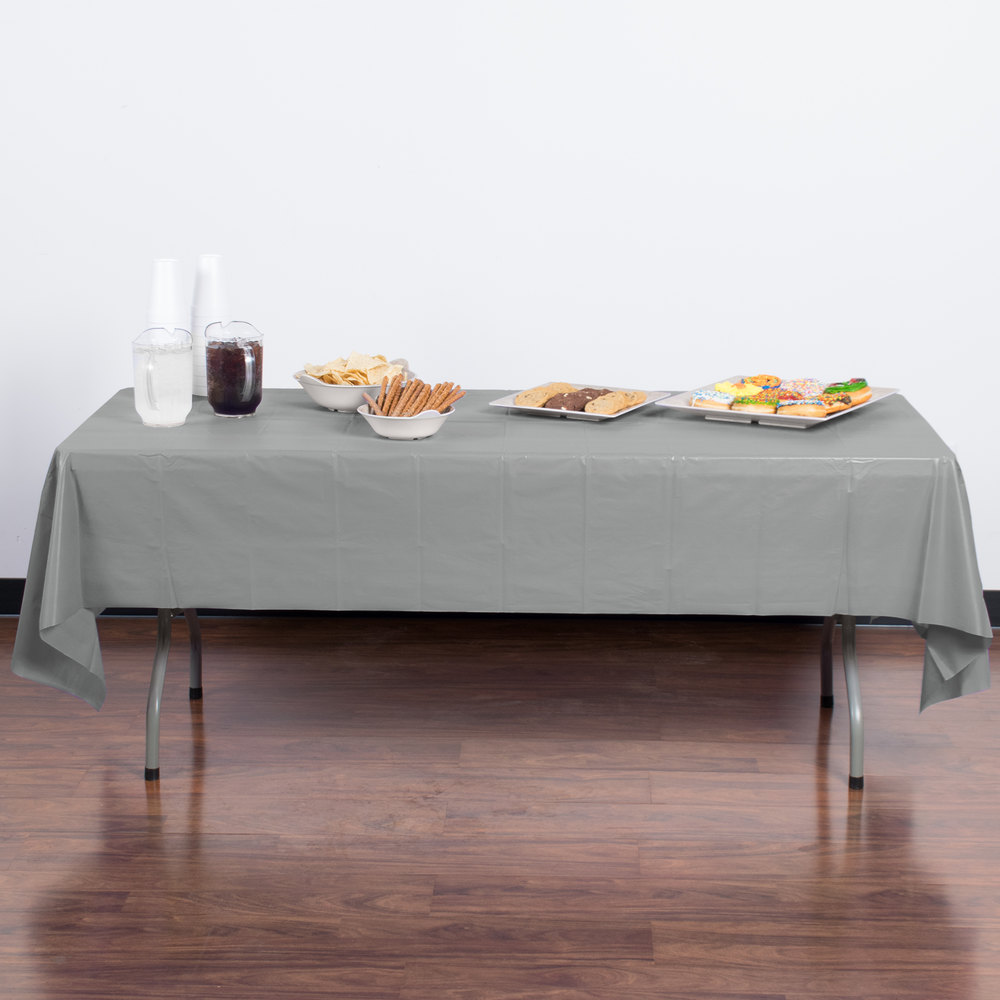 "Creative Converting 01203B 54"" x 108"" Shimmering Silver Disposable Plastic Table Cover - 24/Case"