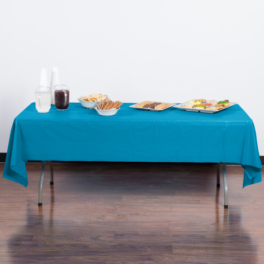 "Creative Converting 723131 54"" x 108"" Turquoise Disposable Plastic Table Cover - 12 / Case"