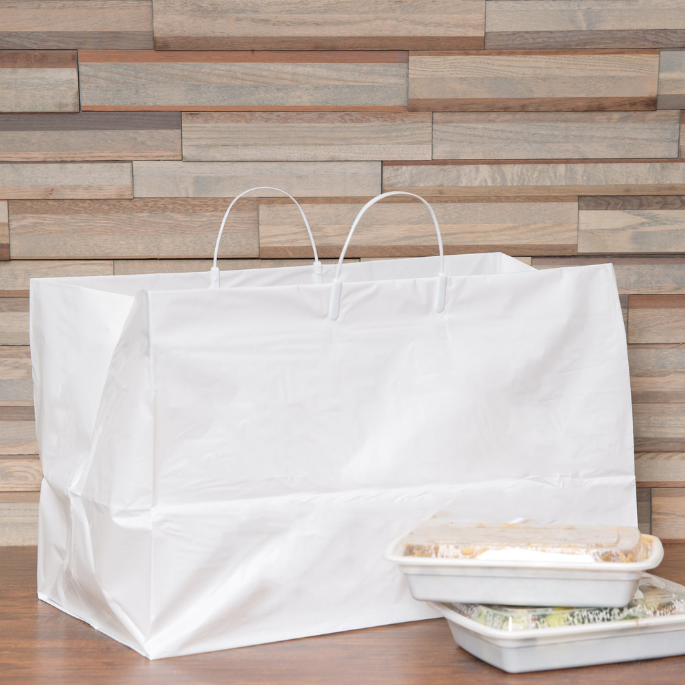 "19"" x 10"" x 12"" White Rigid Plastic Handled Shopper Bag - 200/Case"