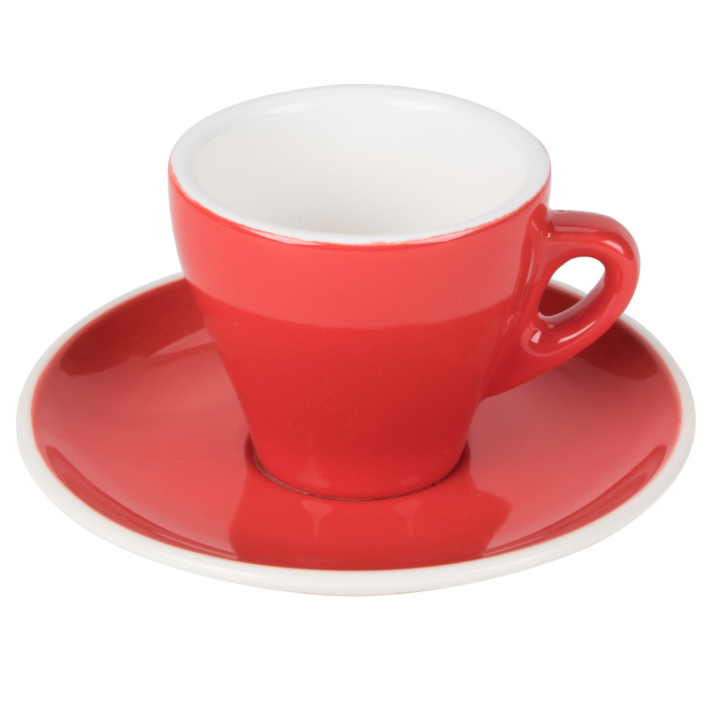 cac er venice  oz red espresso cup with   saucer  case -