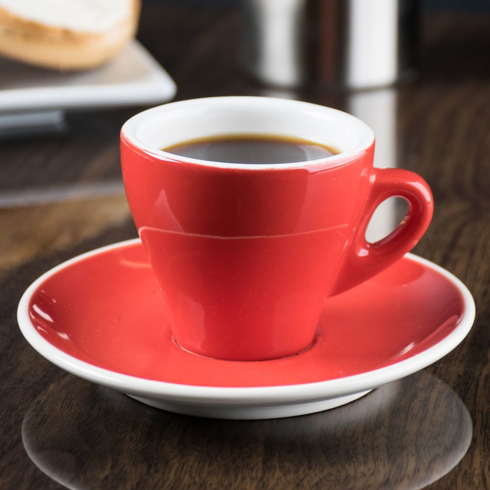"CAC E-3-R Venice 3.5 oz. Red Espresso Cup with 4 7/8"" Saucer - 48/Case"