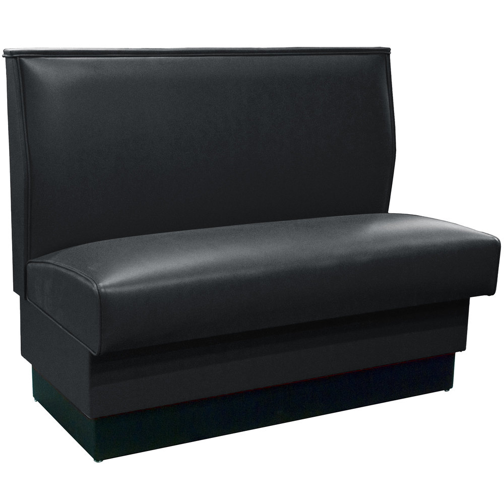 "American Tables & Seating QAS-42 42"" Black Plain Single Back Fully Upholstered Booth - Quick Ship"