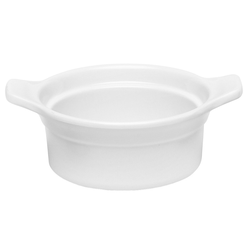 Elite Global Solutions Sides D5R White 14 oz. Round Casserole Dish with Lug Handles