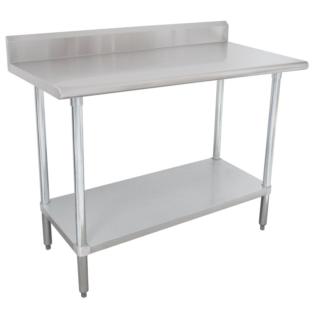 "Advance Tabco KSLAG-244-X 24"" x 48"" 16 Gauge Stainless Steel Work Table with Undershelf and Backsplash"