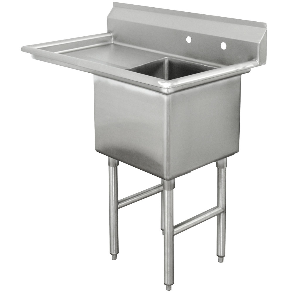 Advance Tabco FC-1-1620-18 One Compartment Stainless Steel Commercial Sink with One Drainboard - 36 1/2""