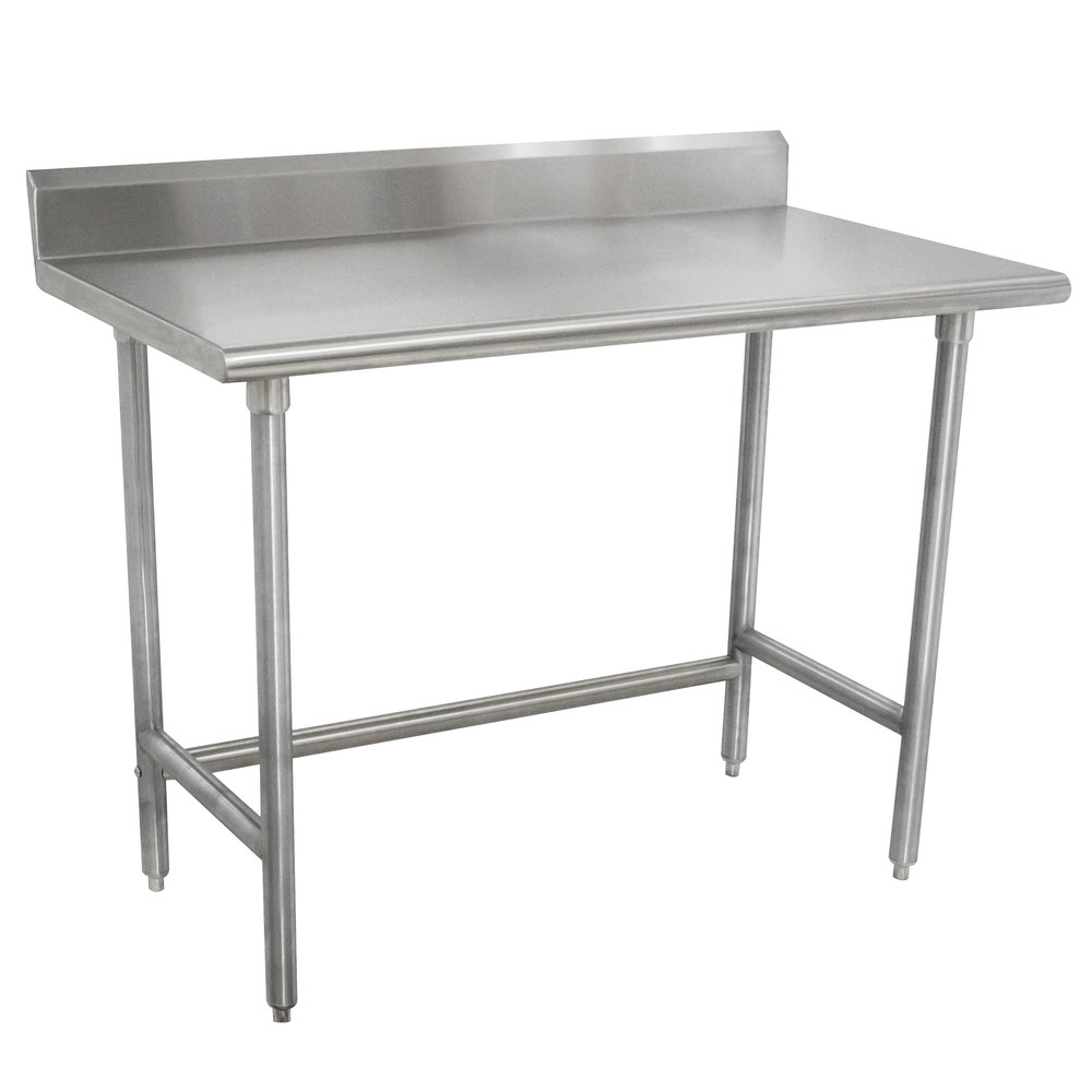 "Advance Tabco TKMSLAG-244-X 48"" x 24"" 16 Gauge Professional Stainless Steel Work Table with 5"" Backsplash"
