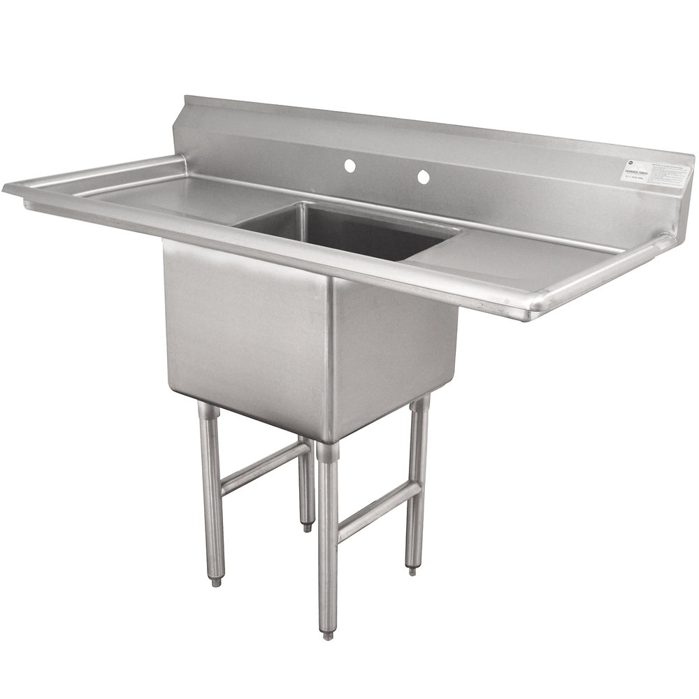 Advance Tabco FC-1-1620-18RL One Compartment Stainless Steel Commercial Sink with Two Drainboards - 52""