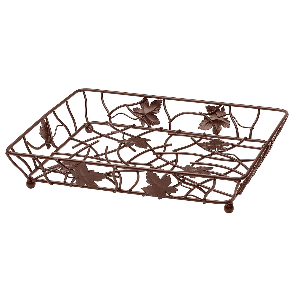 "Elite Global Solutions WB12142 14"" x 12"" Antique Copper Rectangular Metal Leaf Wire Basket"