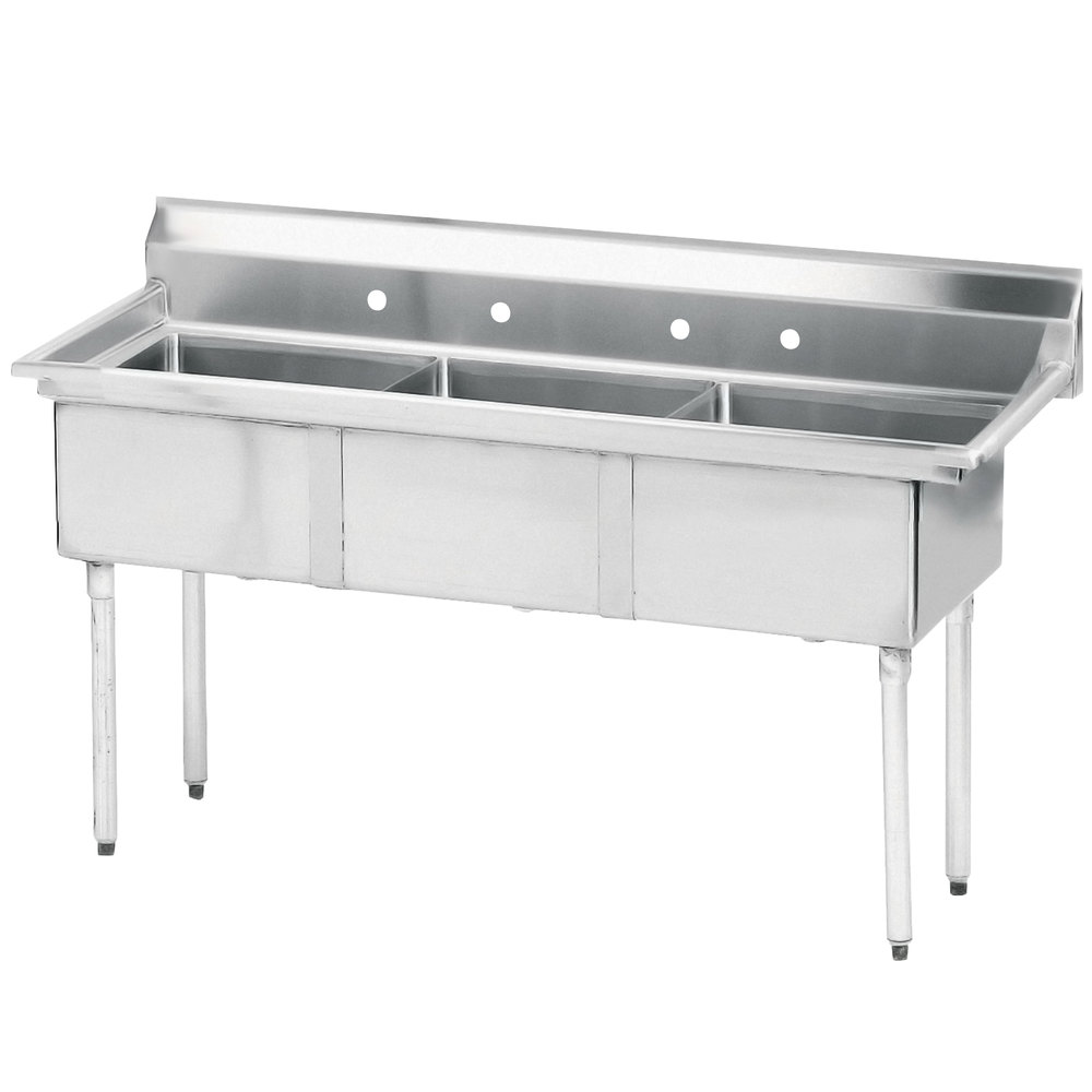 3 Bay Stainless Steel Commercial Sink : Tabco FE-3-2424 Three Compartment Stainless Steel Commercial Sink ...