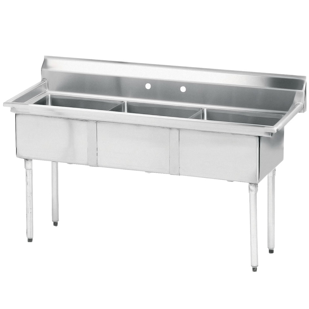 Advance Tabco FE-3-1014 Three Compartment Stainless Steel Commercial Sink without Drainboard - 35""