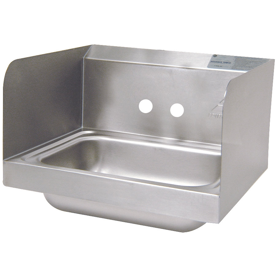 """advance tabco 7-ps-66-nf hand sink with side splash guards - 17 1/4"""""""