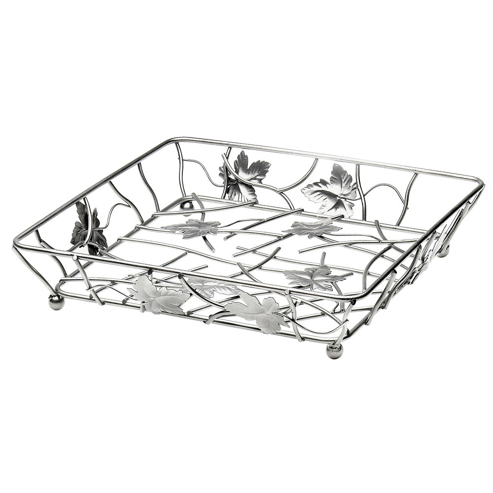 "Elite Global Solutions WB12122 Chrome Square Metal Leaf Wire Basket - 12"" x 12"" x 2"""