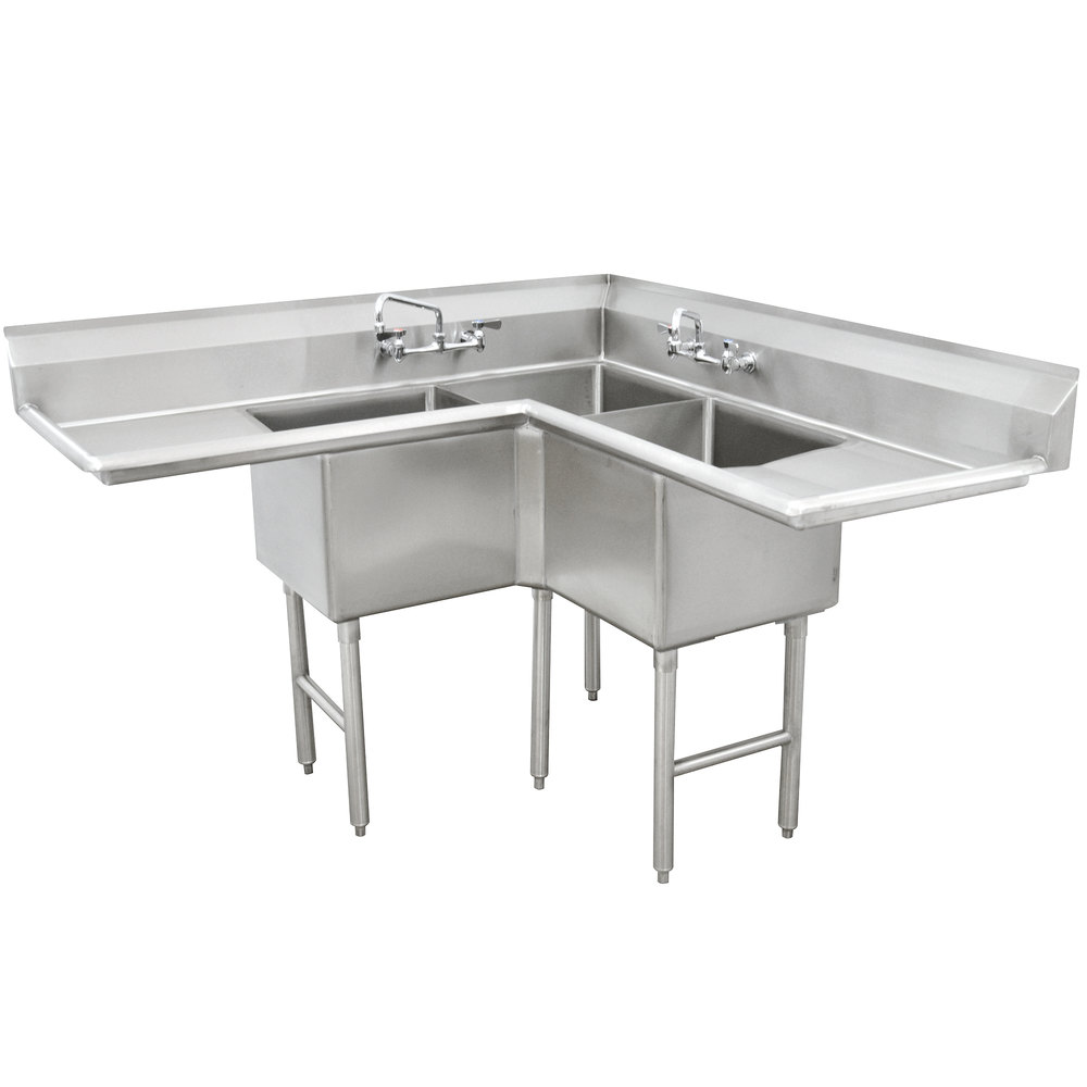 Advance Tabco Fc K6 18d Three Compartment Stainless Steel Commercial Sink With Two Drainboards 57