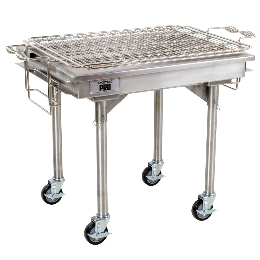 "Backyard Pro 30"" Stainless Steel Charcoal Grill with Removable Legs and Cover"