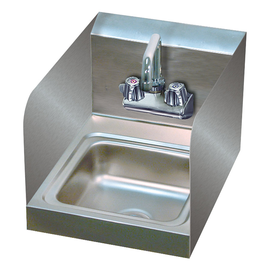 Advance Tabco 7-PS-23-EC-SP-X Hand Sink with Splash Mounted Extended Faucet and Side Splash Guards - 12""