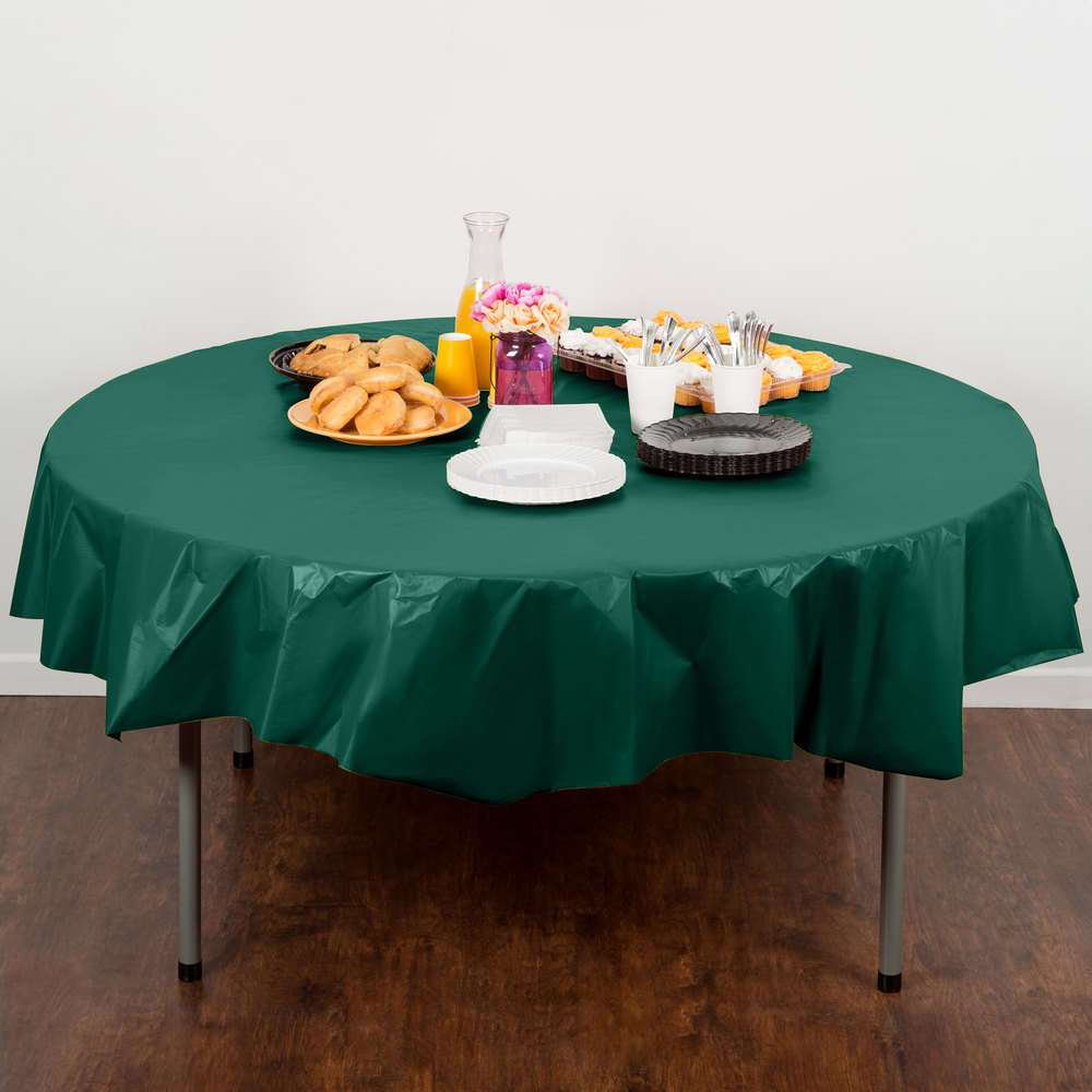 "Creative Converting 703124 82"" Hunter Green OctyRound Disposable Plastic Table Cover - 12/Case"