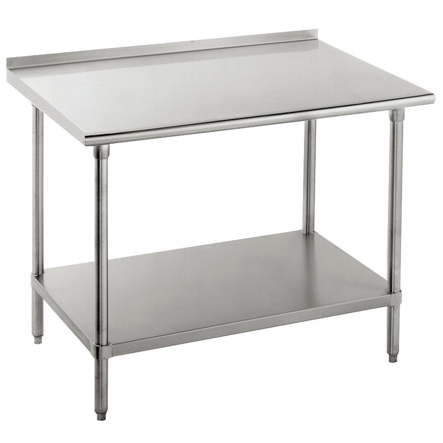 "16 Gauge Advance Tabco FAG-247 24"" x 84"" Stainless Steel Work Table with 1 1/2"" Backsplash and Galvanized Undershelf"