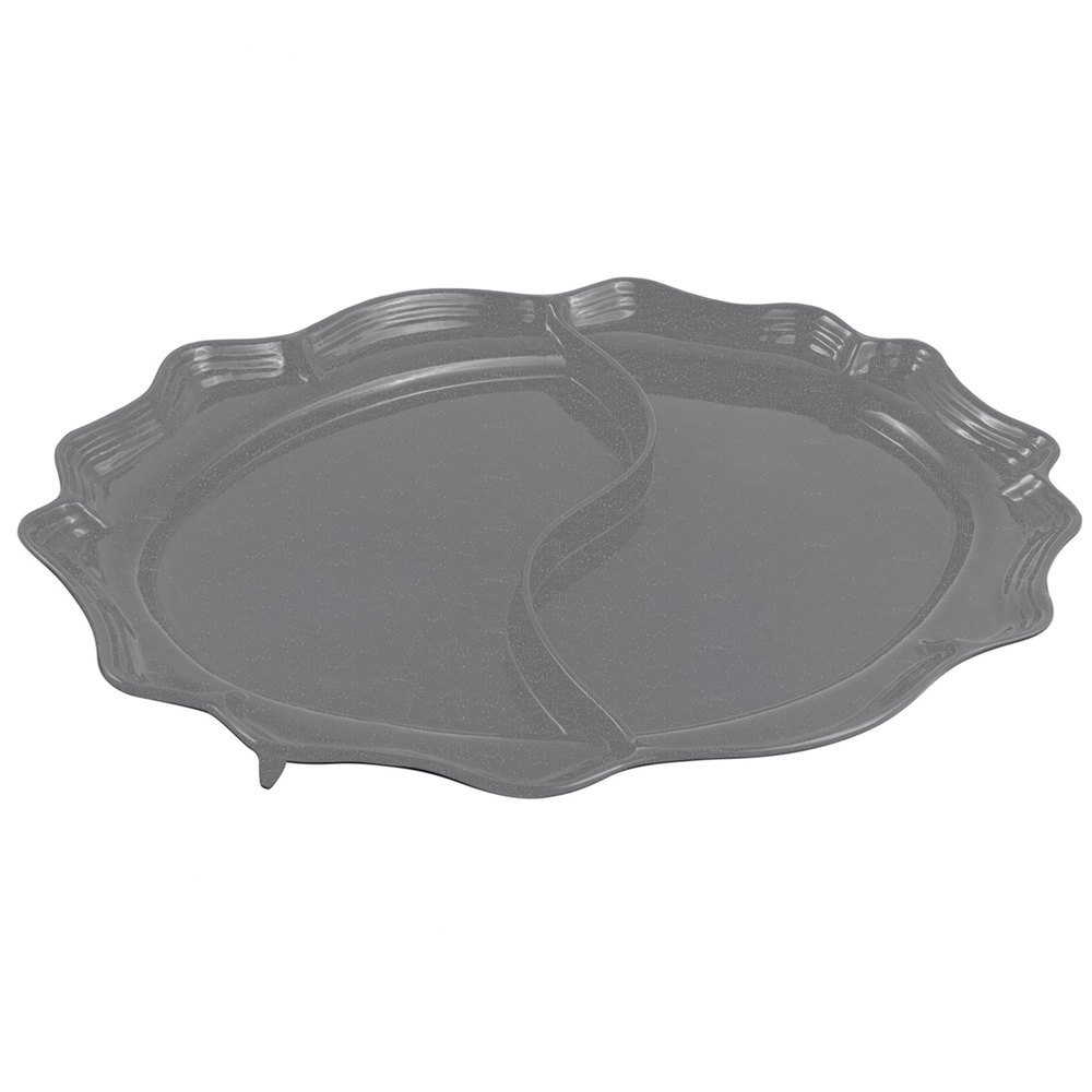 "Bon Chef 2030D Queen Anne 18 3/4"" x 24"" Sandstone Smoke Gray Cast Aluminum Divided Oval Platter"