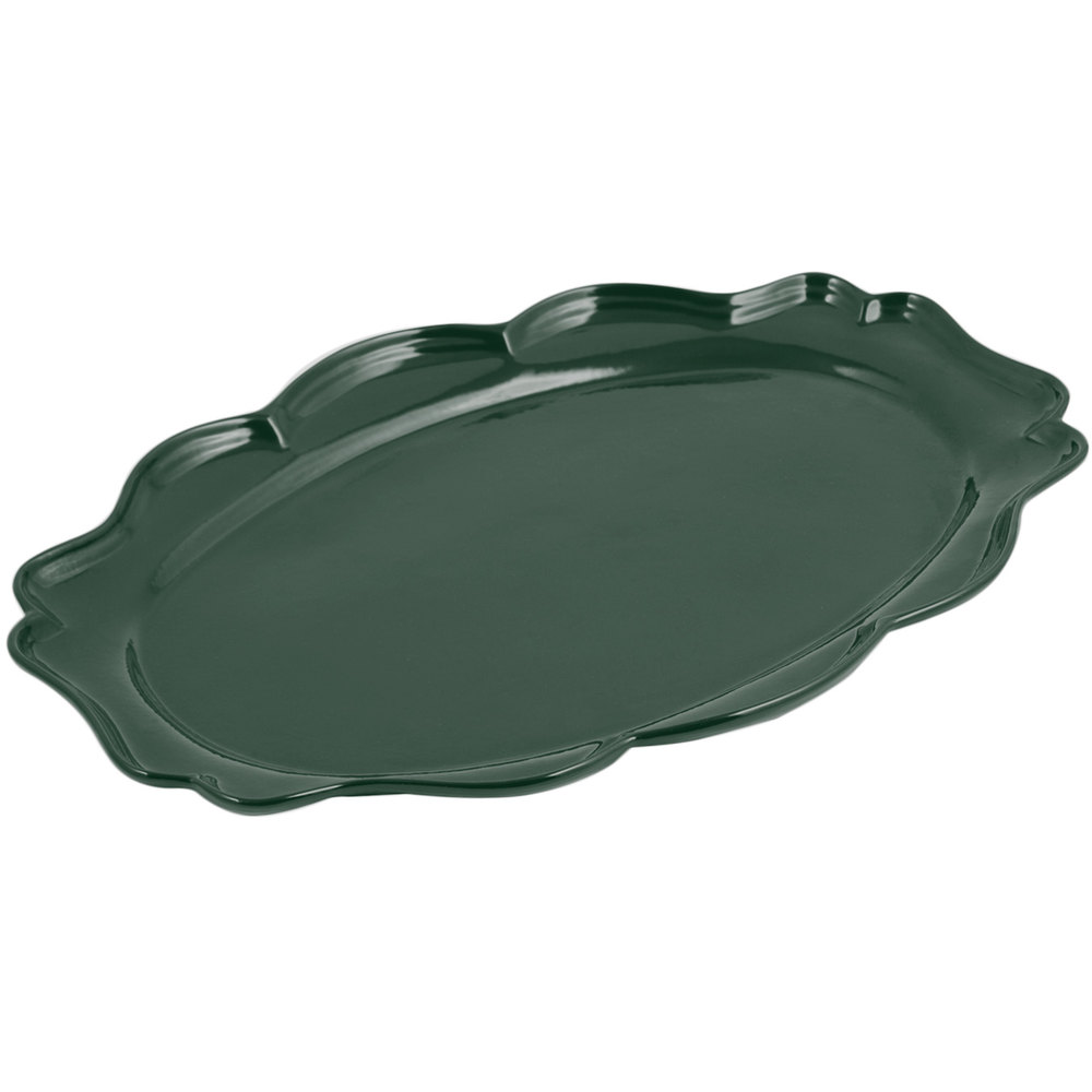 "Bon Chef 2027 Queen Anne 12 1/2"" x 16"" Sandstone Hunter Green Cast Aluminum Oval Platter"