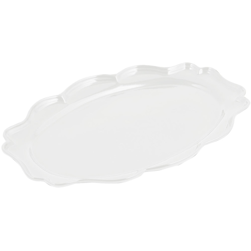 "Bon Chef 2027 Queen Anne 12 1/2"" x 16"" Sandstone White Cast Aluminum Oval Platter"