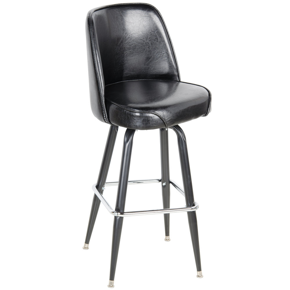 Lancaster Table & Seating Deluxe Black Barstool With 19 Inch Wide Bucket
