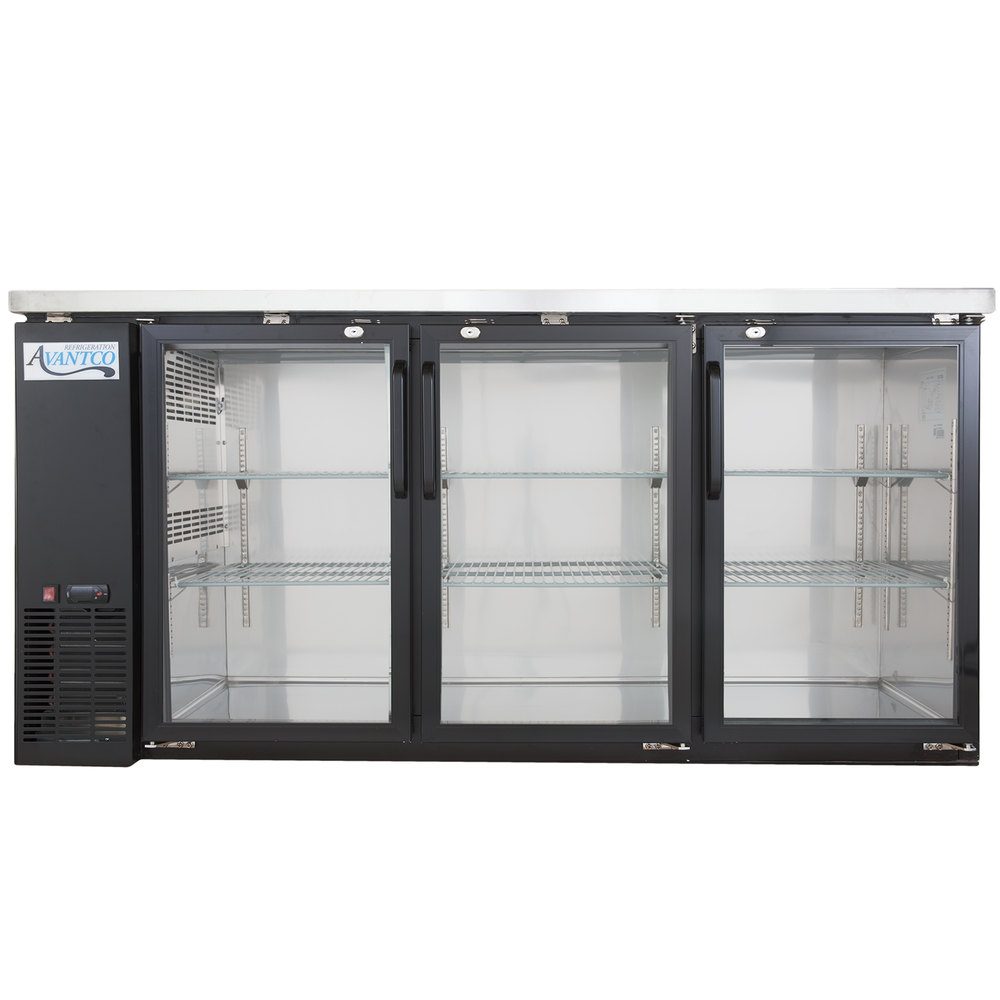"Avantco UBB-24-72G 72"" Narrow Glass Door Back Bar Cooler Stainless Steel Top and LED Lighting"
