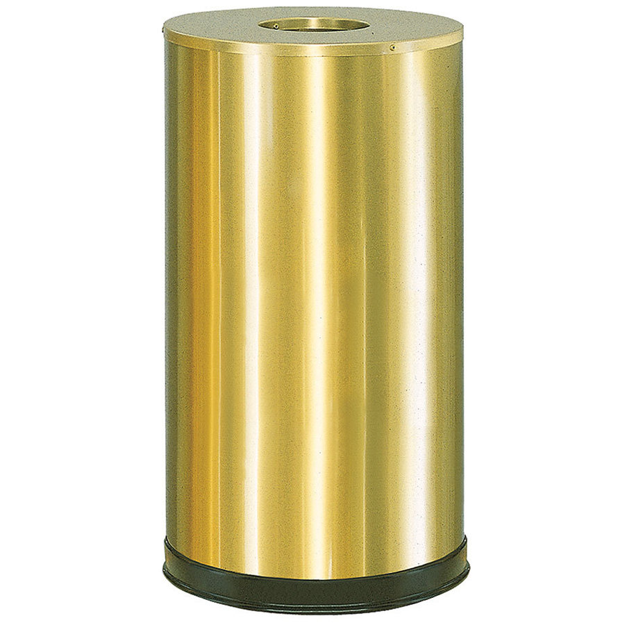 Rubbermaid FGCC16SBSGL Metallic Round Open Top Satin Brass Stainless Steel Waste Receptacle with Galvanized Steel Liner 15 Gallon