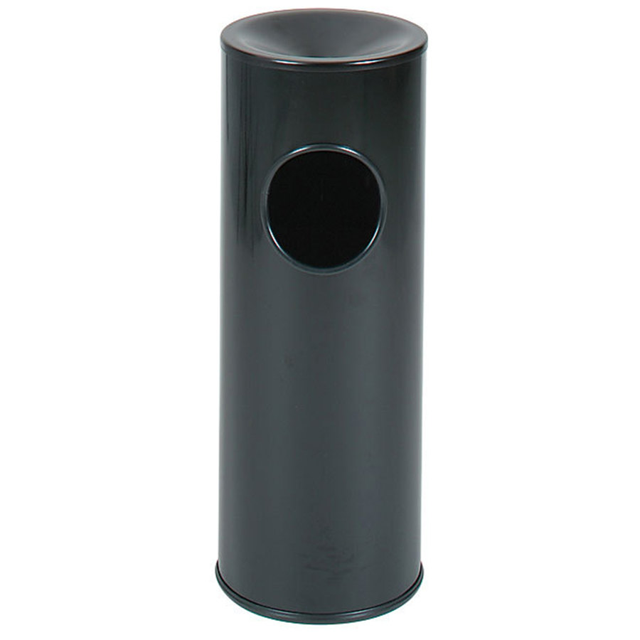 rubbermaid fg1100ebk black round steel waste receptacle with ash tray and rigid plastic liner 35 gallon - Decorative Trash Cans
