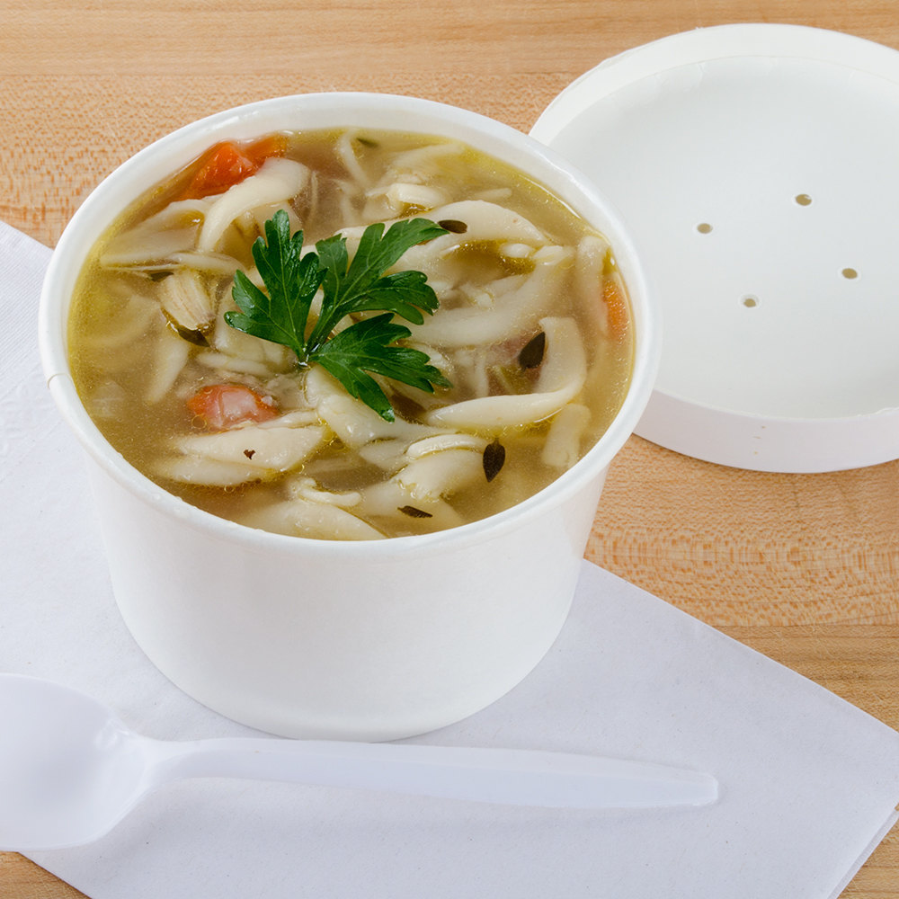 Choice 8 oz. Double-Wall Poly White Paper Soup / Hot Food Cup with Vented Paper Lid - 25/Pack