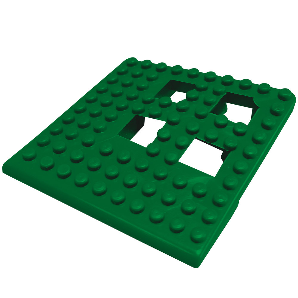 "Cactus Mat 2554-HGC Dri-Dek 2"" x 2"" Hunter Green Vinyl Interlocking Drainage Floor Tile Corner Piece - 9/16"" Thick"
