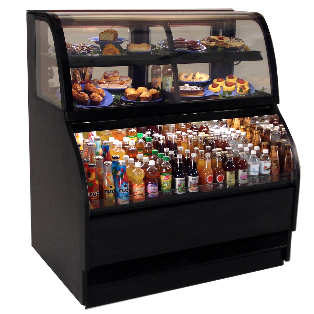 "Gas Ranges >> Structural Concepts Harmony HMBC6-QS Black 75"" Refrigerated Dual Service Merchandiser Case - 24 ..."