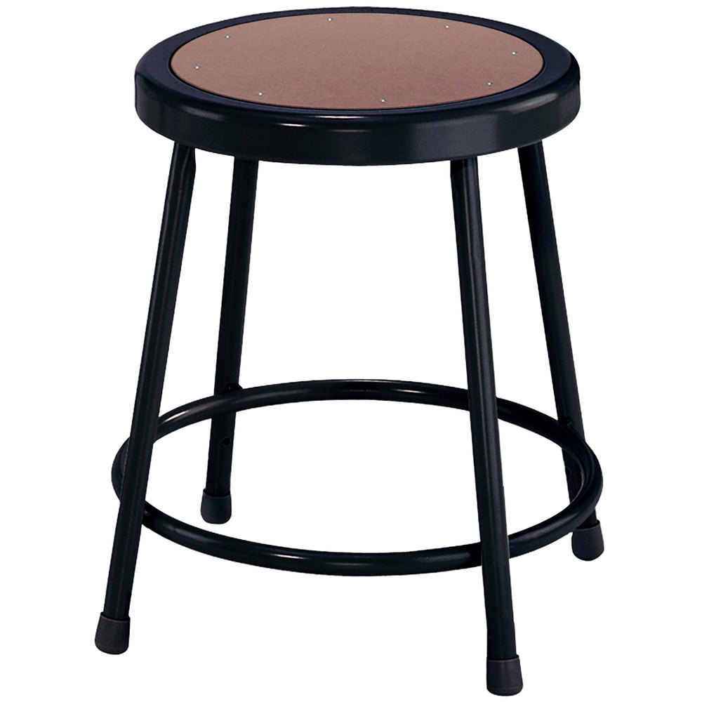 "National Public Seating 6218 Black 18"" Hardboard Round Lab Stool"