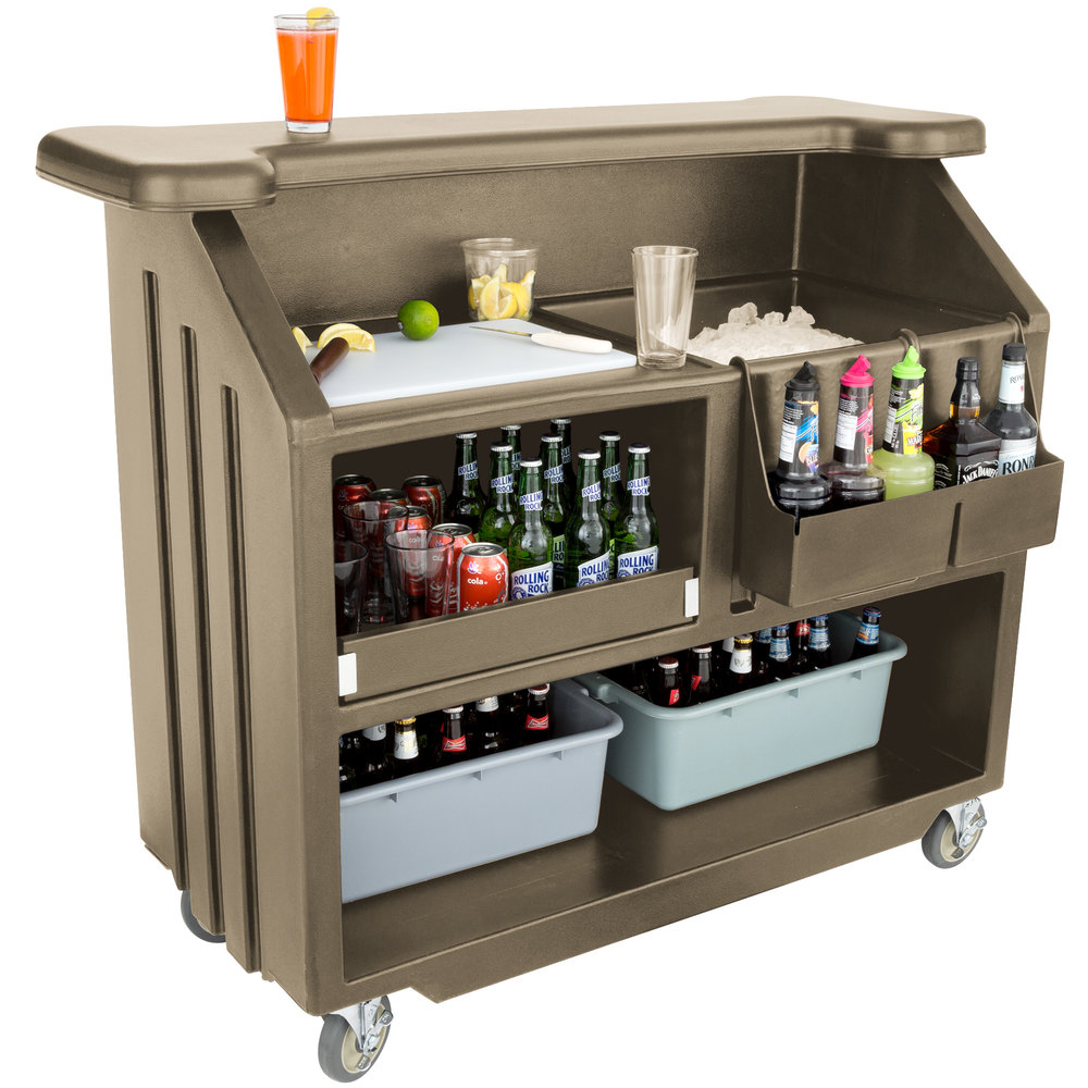 "Cambro BAR540194 Granite Sand Cambar 54"" Portable Bar with 5-Bottle Speed Rail"