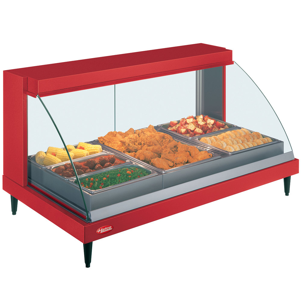 "Hatco GRCDH-3P Red 46"" Glo-Ray Full Service Single Shelf Merchandiser with Humidity Controls - 1255W"