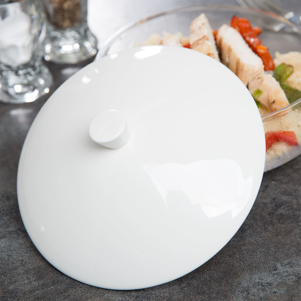 "Cardinal Chef & Sommelier S1080 Purity 5 1/2"" x 1 1/4"" White Porcelain Lid for Purity Bowls - 24/Case"
