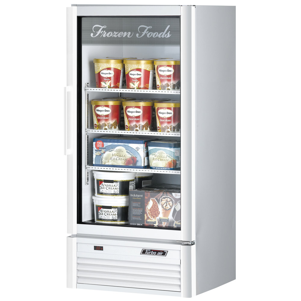 "Turbo Air TGF-10SD White 26"" Super Deluxe Merchandiser Freezer - 9.3 Cu. Ft."
