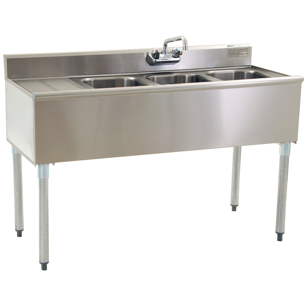 "Eagle Group B5L-22 60"" Underbar Sink with Three Compartments and Left Drainboard"