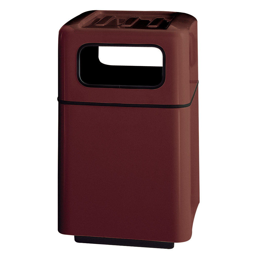 Rubbermaid fg2438 foodcourt maroon square fiberglass waste receptacle with covered tray top and - Covered wastebasket ...