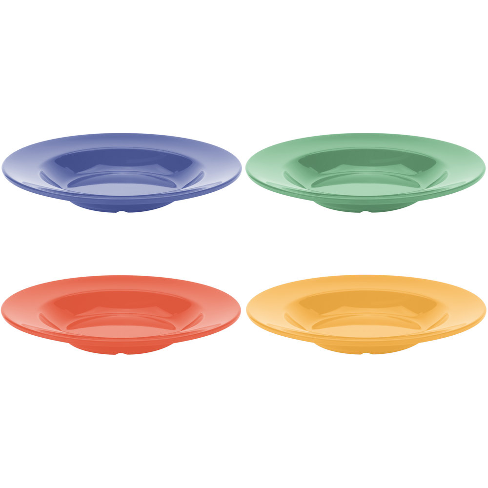 GET B-1611-MIX Diamond Mardi Gras 16 oz. Melamine Bowl, Assorted Colors - 12/Case