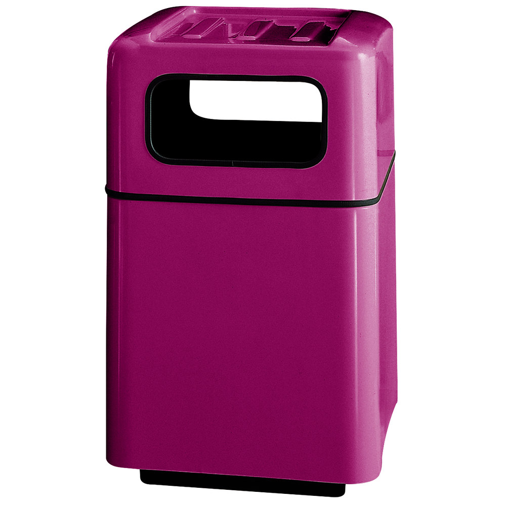 Rubbermaid fg2438 foodcourt plum square fiberglass waste receptacle with covered tray top and - Covered wastebasket ...